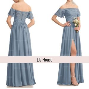 JJs House Dusty Blue Lace Full skirt Maid Prom